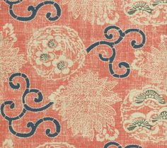 Quadrille Toile Rayure de Vizille Fabric in Saummon ). We sell the full… Textile Design, Fabric Design, Coral Bedroom, Office Wallpaper, Farmhouse Fabric, Blue Rooms, Drapery Fabric, Curtains, Fabulous Fabrics