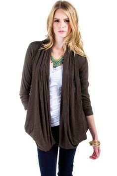 $16 at www.heavenlycouture.com Draped Cardigan Wrap in Dark Olive