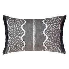 Jasham Slate Cushion - 40cm x 60cm  The No Chintz x William Yeoward Jasham Slate cushion features a combination of print and embroidery on pure cotton evocative of a woodland stream. With fringe trim and slate textured back this cushion works well solo or combined with other cushions.  #cushion #cushioncovers #designerfabrics #williamyeoward #homedecor #softfurnishings #nochintz