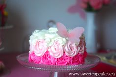 Rose and butterfly cake