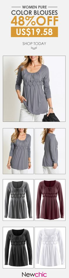 [Newchic Online Shopping] 48%OFF Women Pure Color Blouses
