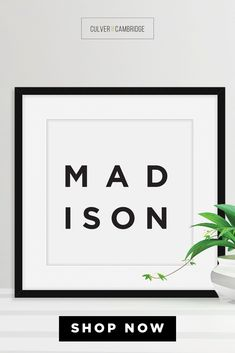 Culver and Cambridge's Minimalist Madison Print. Bold, black typography with your favorite place, your home, or where you left your heart. Our minimalist prints make great gallery walls. Geography décor wall art prints are available in a wide range of places. Madison Poster, Madison Wall Art, Minimalist City Wall Art, City Poster, Travel Art, Black and White Modern Art || culverandcambridge.com || Madison, Wisconsin, Wisconsin Poster || #poster #artprint #walldecor Office Wall Decor, Wall Art Decor, Wall Art Prints, Living Room Prints, Madison Wisconsin, College Dorm Decorations, Office Prints, Black And White Prints, Poster Poster