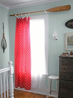 Oar Curtain Rod  Add a nautical touch to your window treatments with a vintage oar-turned-curtain-rod.