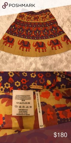 RARE Free People Elephant Wrap Skirt Sold out everywhere because it came out a few years ago Never worn! Beautiful elephant print design 🐘  Wrap skirt XS/S Free People Skirts Mini