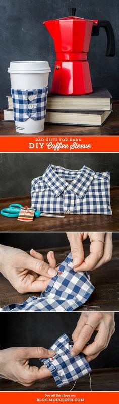 Give your dad something handmade this Father's Day: A DIY coffee sleeve and letter tile coasters!
