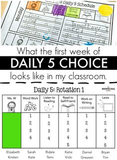 1st Week of Daily 5 Choices