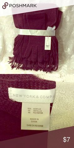 Scarf & Gloves Set by New York & Co. Brown knit fringed scarf and gloves set, 93% acrylic, 4% metallic, 2% 3% Polyester. One size. New York & Company Accessories Scarves & Wraps