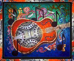 Image Detail for - Dobro - Slide Guitar-Bordered Painting - Dobro - Slide Guitar ...