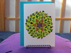 "Blank Card - ""Breakthrough - Mandala Art - Any Occasion - Vibrant Colors - Sunburst - Whimsical Diamonds - Celebration Card - Geometric by CreateThriveGrow on Etsy"