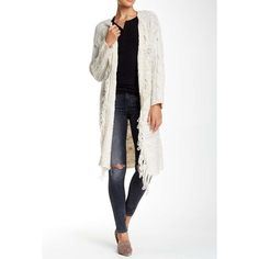 """Open Front Cardigan. Ivory open front cardigan• Cable knit construction• Long sleeve• Fringe trim.(43"""" Length) Cliche Sweaters Cardigans"""