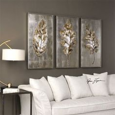 Uttermost Champagne Leaves Modern Art S/3