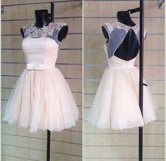 Cute Homecoming Dress,O-Neck Homecoming Dress,Appliques Homecoming Dress,Short Prom Dress