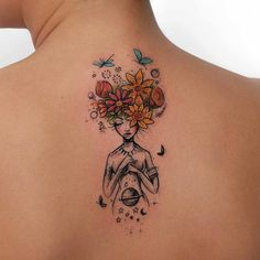 upper back flowers girl tattoo