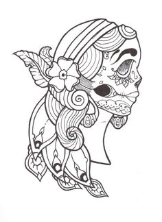 Gypsy by on deviantart inspiration for painting! Skull Coloring Pages, Colouring Pages, Coloring Books, Spanish Gypsy, Day Of The Dead Girl, Tumblr Drawings, Doodle Sketch, Paper Toys, Beautiful Creatures
