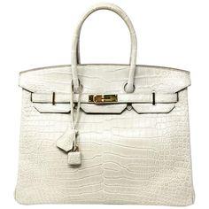 5474e1bded Hermès Tote Bag - Paris Sac Birkin 35 Crocodile Porosus Mat Beton Gris  Fonce 2015 Crocodile
