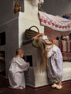 Ukraine, these fireplace keeps the beds warm in older traditional homes