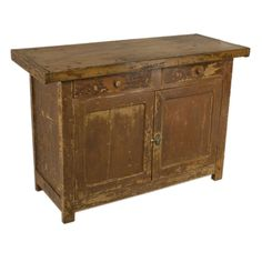 Antique Rustic Painted  French Chopping-Block-Top Buffet