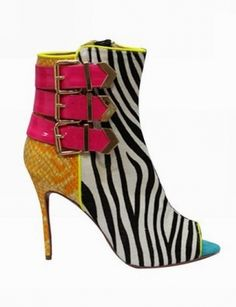 DEBRA Zebra Stripes Color Mixed Ankle Boots  @Gail Regan Truax://www.shopjessicabuurman.com