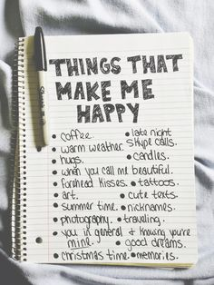 Things that make me happy quotes happy life writing paper list