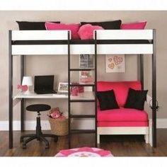Teenage girl bunk bedroom ideas girls bunk beds with desk gorgeous girls bunk bed with desk with best girls bunk beds ideas on bunk teenage girl loft bed Loft Bed With Couch, White Loft Bed, Bunk Bed With Desk, Bunk Beds With Stairs, Cool Bunk Beds, Sofa Bed, Desk Bed, Futon Chair, Chair Cushions