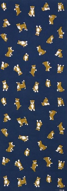 Japanese Tenugui cotton towel fabric. Kawaii shiba dog / various poses design. High quality tenugui fabrics made of soft 100% cotton cloth and