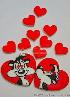 Pepe Le Pew aka my husband Valentines Day Cookies, Valentines Sweets, Valentine Cookies, Easter Cookies, Birthday Cookies, Christmas Cookies, Valentine Hearts, Cupcakes, Cookies Cupcake