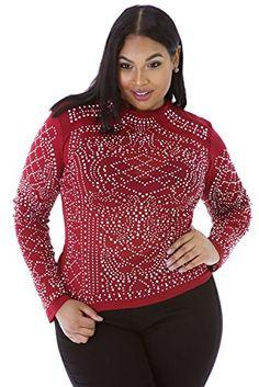 Fashion Bug Women Plus Size: Tops & Tees: Plus Size Wine Mesh Rhinestone Embellished Long Sleeve Top Club Wear Casual Clothing Top Party Wear Size XXXL UK 14-16 EU 42-44 #British #UK #FashionBug #PlusSize #Top #Tees #Blouse #Shirts