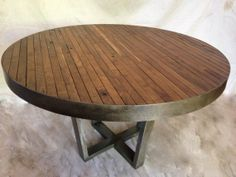 Rustic Round Dining Room Table butcher block style round table with metalmetaltreefurniture