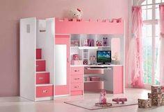 Lit combiné mezzanine ELEONORE, coloris rose et blanc