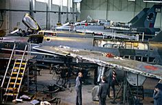 Lightning's inside the ASF hanger at RAF Binbrook