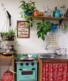 Home Interior Design, Sweet Home, Kitchen Inspirations, Kitchen Decor, Small Kitchen, Vintage House, House Interior, Apartment Decor, Home Deco