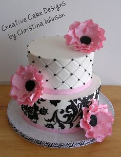pink white and black anemone Cake