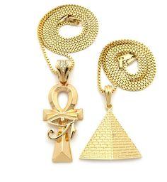 Eye Of Horus Ankh Cross Pyramid of Giza Hip Hop Pendant Chain - Bling Jewelz