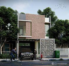 """Azhar di Instagram """"Rumah dengan desain minimalis sentuhan batu bata dan roster, di luas tanah 6x18m2, dengan 1kmr tidur utama dan 2kmr tidur anak, 3kmr mandi…"""" Building A House, House Design, Outdoor Decor, Modern, Home Decor, Ideas, Apartments, Facades, Architecture"""