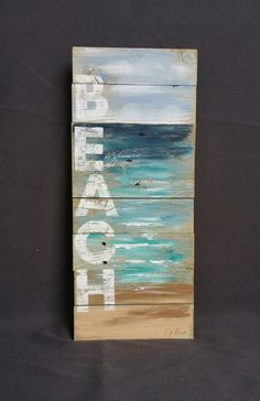 Reclaimed Wood Pallet Art Hand painted seascape with BEACH wording Beach Cottage upcycled Wall art Distressed Shabby Chic 42 Coastal Decor Plage Art Mural, Art Plage, Wood Pallet Art, Wood Pallets, Wood Art, Diy Wood, Pallet Signs, Wall Wood, Pallet Walls