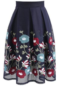 Flowers for My Love Embroidered Mesh Skirt in Navy - New Arrivals - Retro, Indie and Unique Fashion