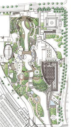 The Future of design is here! Namba Park by Jerde Partnership - Urban design Landscape Design Plans, Landscape Concept, Landscape Architecture Design, Green Architecture, Architecture Diagrams, Architecture Portfolio, Classical Architecture, Ancient Architecture, Sustainable Architecture