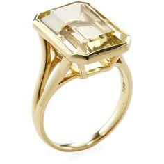 Goshwara Women's Gossip 18K Yellow Gold & Lemon Quartz Cocktail Ring (3.885 RON) ❤ liked on Polyvore featuring jewelry, rings, yellow, yellow gold jewelry, 18k ring, cocktail rings, wide-band rings and gold jewellery