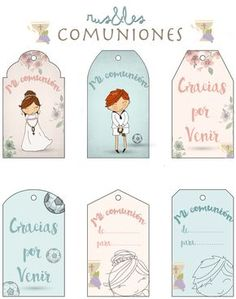 Rus&Les: Etiquetas Descargables Primera Comunión First Communion Favors, First Holy Communion, Free Printable Tags, Printable Paper, Tutu Disney, Baptism Cookies, Boy Baptism, Ideas Para Fiestas, Thank You Tags