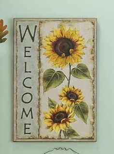 Country Sunflower Home Decor Accents - Sunflower Welcome Wooden Plaque.