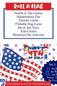 Halloween Party Games, Birthday Party Games, 4th Of July Party, Fourth Of July, Memorial Day Activities, Holiday Activities, Kids Party Tables, Flag Game, July Game