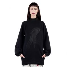 This Ioana Ciolacu sweatshirt features a ribbed crew neck, long broad sleeves with ribbed cuffs, bottom length hem and front screenprinted detail. Red Pattern, Fall Winter, Crew Neck, Turtle Neck, Sweatshirts, Skirts, Sleeves, Sweaters, Collection