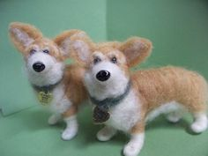 Welsh Corgi Felted Wool Dog Ornament/Sculpture by WhimsicalWoolies, $79.00