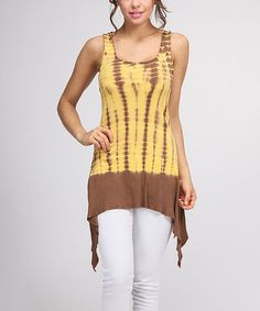 Another great find on #zulily! Yellow & Brown Tie-Dye Sidetail Tunic #zulilyfinds