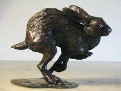#Bronze #sculpture by #sculptor Jon Bickley titled: 'Running Hare (Little Fleeing Sprinting Running statues)'. #JonBickley
