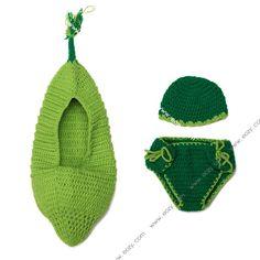Baby Velvet Crochet Beanie Photography Green Hat Chothes Set #eozy