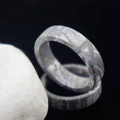Flat Meteorite Wedding Band