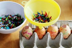 Making Confetti Eggs for New Years!
