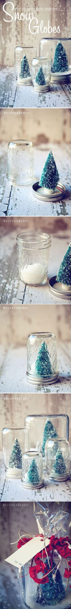 Adorable home-made snow globes make for great holiday gifts.
