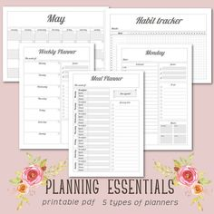 Planning Essentials | Minimal Gray | Daily Planner, Weekly Planner, Monthly Planner, Meal Planner, Habit Tracker, A4, A5, Letter & Half Size Goals Planner, Monthly Planner, Planner Pages, Types Of Planners, Planner Organization, Study Tips, Back To School, Base, Printables